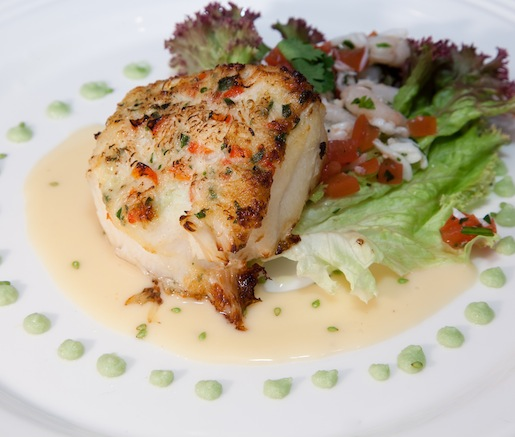 Wasabi and Mirin–Glazed Chilean Sea Bass with Alaskan Red King Crab Crust, King Crab Salad, and Wasabi Beurre Blanc