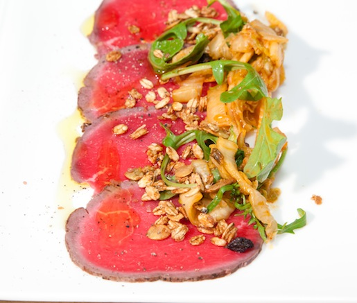 Ohio Bison Carpaccio with Apple Kimchi, KJ Greens Arugula, and Spiced Pumpkin Seed Granola