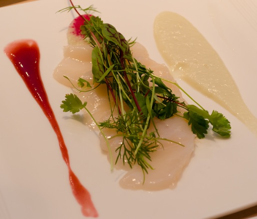 Maine Diver Scallop Crudo with Radish Flowers, Pickled Plums, and Yuzu–Habanero Vinaigrette