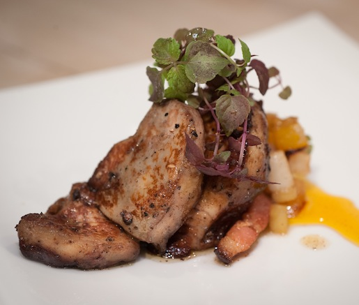 Crushed Peppercorn and Lime–Seared Foie Gras with Cashews, Mango, Green Figs, and Bacon