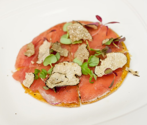 Tuna Pizza with Summer Truffles, Micro-Shiso, and Micro-Bull's Blood Beets