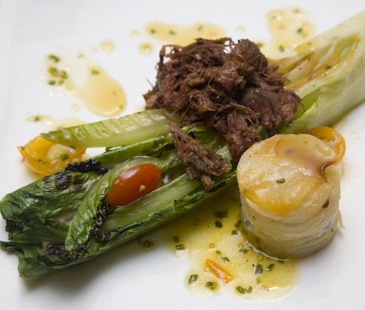 Grilled Romaine Salad with Smoke-Vide Oxtail and Cheesy Potato Gratin