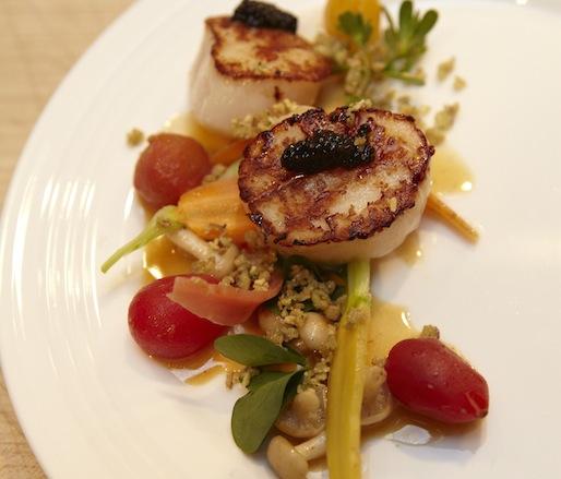 Qualicum Bay Scallop with Acadian Sturgeon Caviar and Tom Yum Beurre Blanc