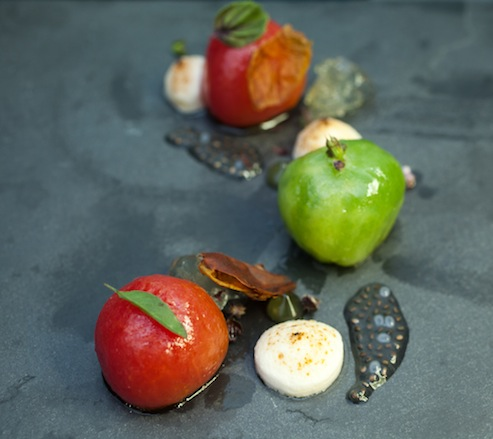Heirloom Tomatoes with Smoked Marshmallows and Chartreuse