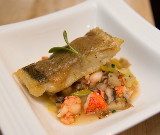 Seared Northern Cod with Leek, Lobster, and Shiitake Ragoût