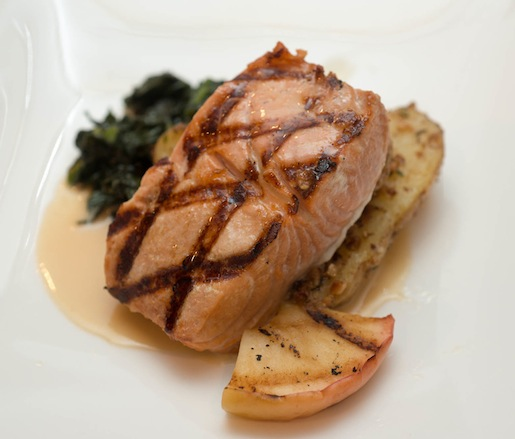 Wild Chinook Salmon with Honeycrisp Apples, Pacific Distillery Pacifique Absinthe, Oxbow Farms Lacinato Kale, and Holmquist Hazelnut-Crusted Ozette Potatoes