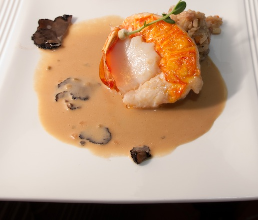 Butter-Poached Florida Lobster and Sea Scallop Medallion with Housemade Teriyaki–White Truffle Cream