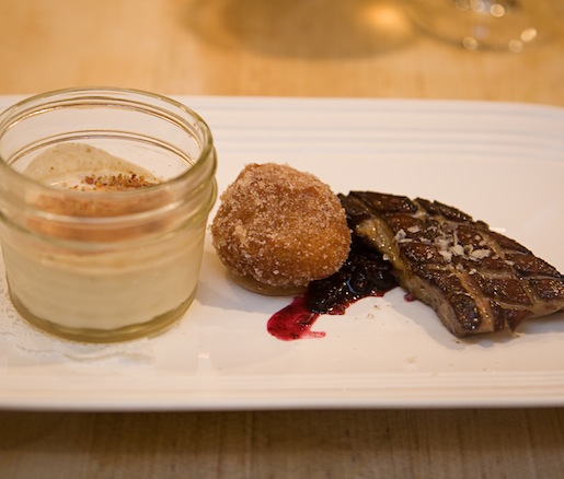 Hudson Valley Foie Gras with Sweet Potato Beignets, Bacon Panna Cotta, and Vanilla Salt