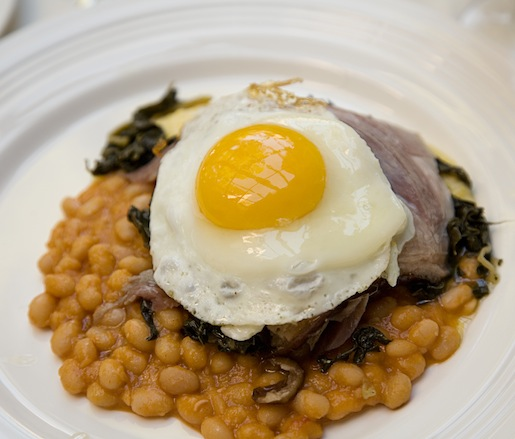 House-Cured Ham-in-Hay with Baked Cannellini Beans, Braised Tuscan Kale, and Sunny-Side-Up Egg