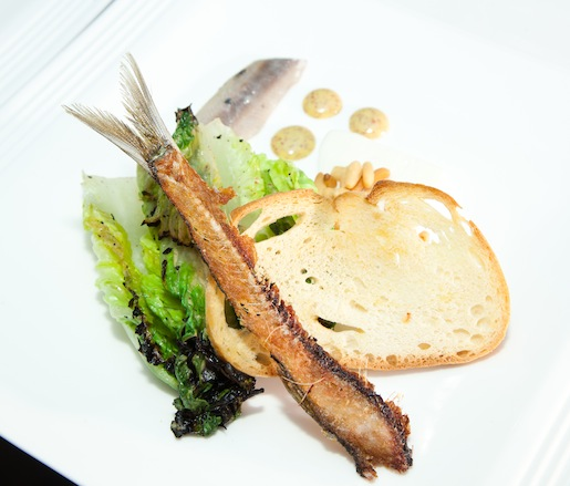 Little Gem Lettuce with Pickled Sardines, Stracchino, Mustard, and Lemon