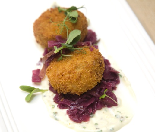 Smoked Lake Erie Walleye Cake with Braised Red Cabbage and Pickled Ramp Tartar Sauce