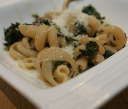 Fresh Orecchiette with Local Kale and Swiss Chard, Mountain Products Smokehouse Italian Sausage, Olive Oil, and Local Garlic