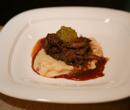 Boylan Root Beer–Braised Lava Lake Lamb Shoulder with Goat Cheese and Smoked Duck Grits