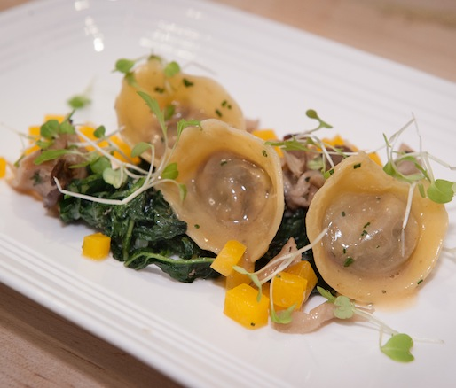 Duck Offal Cappelletti with Duck Heart, Duck Kidney, Georgia Candy Roaster Squash, Hen of the Woods Mushrooms, and Tuscan Kale