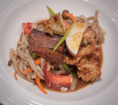 Uptown Ramen with Lobster, Crispy Clams, Pork Belly, Housemade Teff Noodles, and Miso