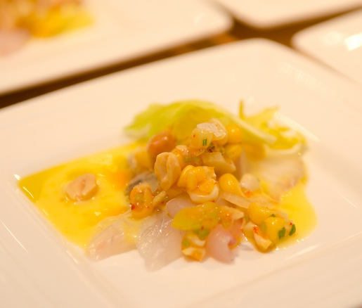 Barramundi Crudo with Sweet Corn, Ají Amarillo, Fire-Roasted Peanuts, and Young Celery