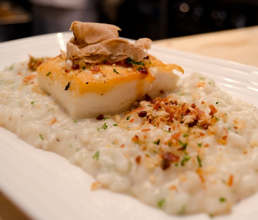 Acquerello White Truffle Risotto with Pan-Roasted Halibut, Pancetta Crumbs, and Orange Gastrique