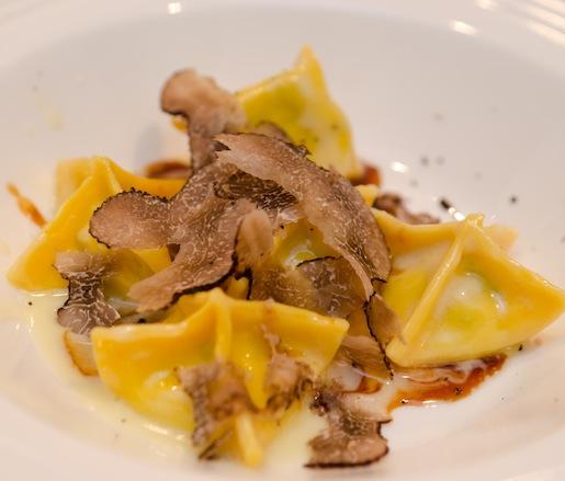 Swiss Chard–Ricotta Tortelli with Black Truffle–Veal Sugo