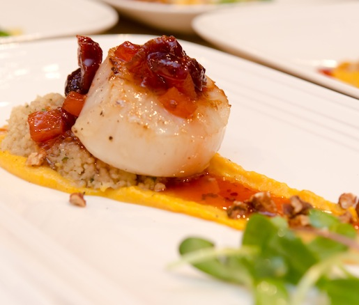 Cape Cod Diver Scallop with Butternut Squash, Stone Fruit Mostarda, Spiced Pecans, Green Apples, and Sunflower Sprouts