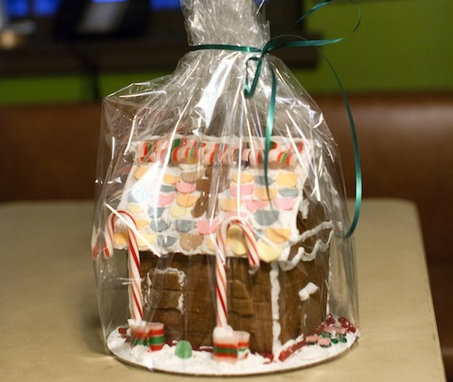 A completed gingerbread house