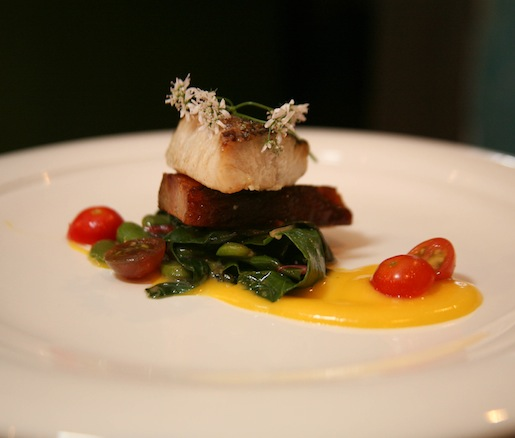 Crispy Colorado Striped Bass with Local Tomatoes, Tender Belly Bacon, Fava Beans, and Swiss Chard