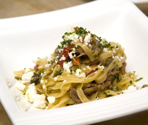 Pistachio Fettuccine with Lamb Ragù, Feta, and Mint