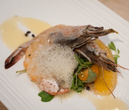 Cocoa Butter–Roasted Wild Shrimp with Spinach Callaloo and Passion Fruit–Nutmeg Air