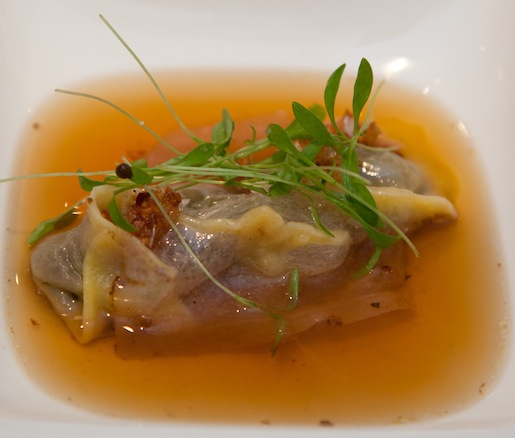 Pork Bone Consommé With Star Anise, Blood, and Mangalitsa Lomo