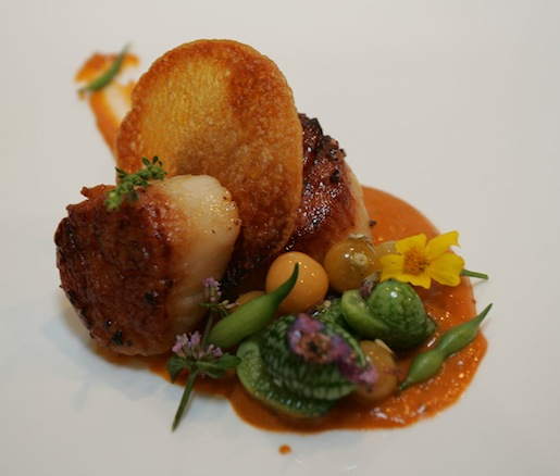 Coquilles St. Jacques à la Provençal > Roasted New Bedford Sea Scallop with Ratatouille Vinaigrette, Saffron Potato Crisp, and Verjus