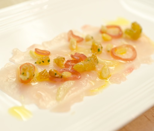 Murrells Inlet Swordfish Crudo with Celery Hearts, Pine Nuts, Golden Raisins, and Maldon Sea Salt