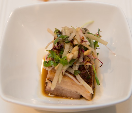 Cognac-Scented Pork Belly with Pork Hock–Tongue Terrine and Apple–Hazelnut Slaw