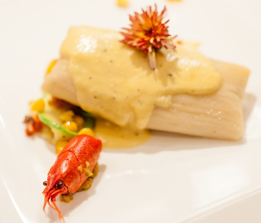 Colorado Crayfish Tamale with Olathe Corn Coulis, Calabacitas, and Crayfish Head Cheese