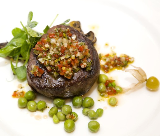 Grilled Beef Tenderloin with Chimichurri, Wild Mushrooms, and Green Peas