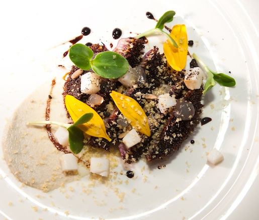 Roasted Sunflower Heart with Seeds and Sprouts, Cuttlefish Confit, Miso-Cured Duck Egg, and Saba