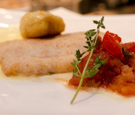 Pan-Fried Flounder with Mousseline, Roasted Tomato Relish, and Potato Dumplings