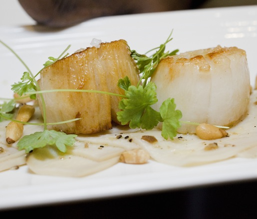 Seared Scallops with King Oyster Mushroom Carpaccio and Truffle Vinaigrette