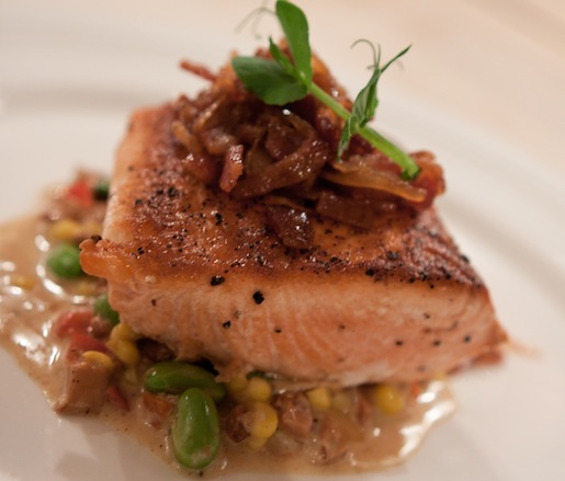 Roasted Pacific Northwest Red King Salmon with Chanterelle Succotash and Caramelized Onion–Bacon Relish