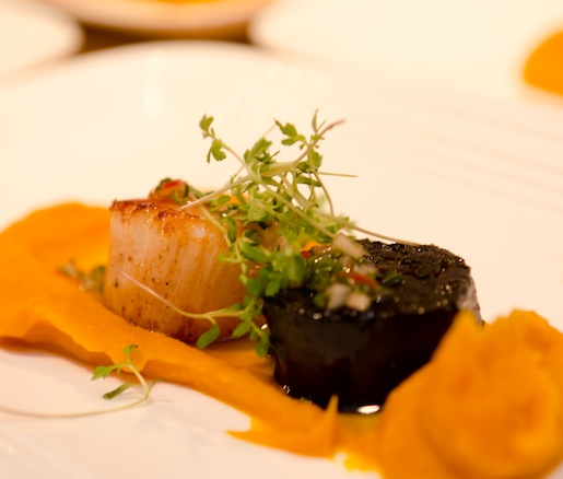 Georges Bank Scallop with Butter-Braised Kabocha Squash, Calabrian Chili Vinaigrette, and Morcilla