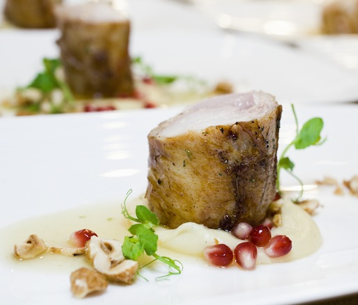 Rabbit–Foie Gras Ballotine with Parsnips, Vanilla, and Hazelnuts
