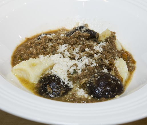 Newman Farms Lamb Bolognese with Handmade Potato Dumplings and Baby Mushrooms