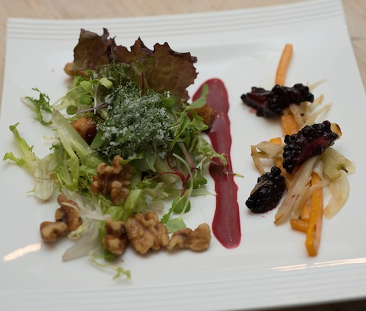 Roasted Squash and Candied Fennel with Crispy Pork Belly Croutons, Roasted Walnuts, and Huckleberry Vinaigrette