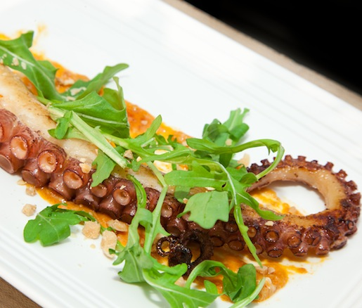 Charred Octopus with Nduja Sausage, Wild Arugula, and Aged Sherry