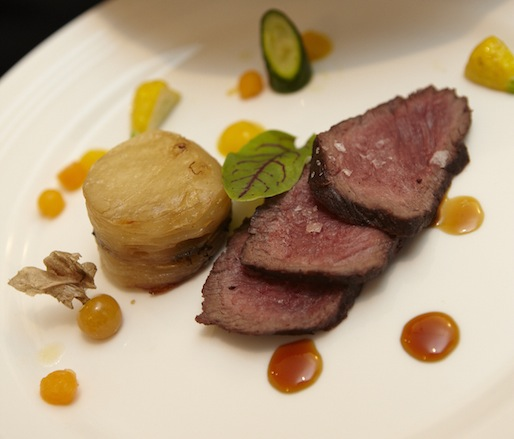 Elk with Pommes Anna, Squash, and Birch Syrup