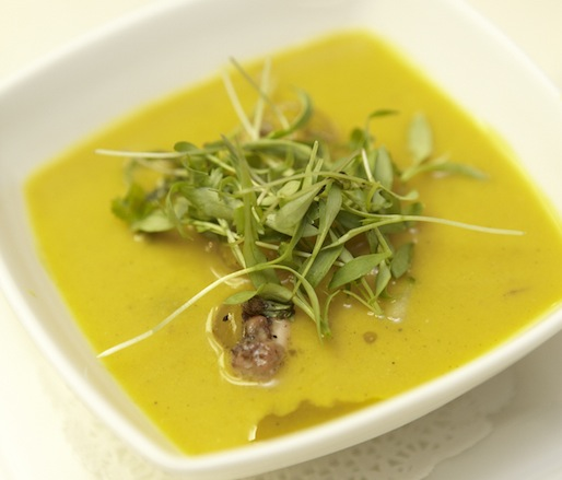 Yellow Tomato Gazpacho and Warm Octopus Salad with Shiitakes, Cucumbers, and Ginger Cream