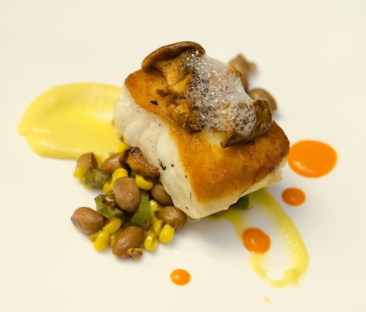 Pan-Roasted Grouper Cheeks with Boiled Peanut Succotash, Corn Pudding, and Foraged Mushrooms