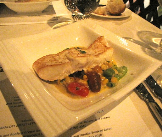 Pan-Seared Halibut with Grilled Corn Succotash and Double-Smoked Bacon