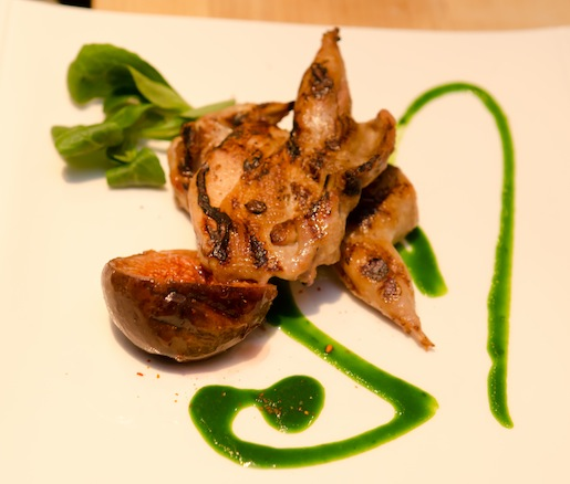 Cavendish Farm Quail with Roasted Black Mission Figs, Wild Arugula Coulis, Star Anise, Mâche, and Warm Ginger Vinaigrette