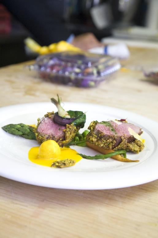 Pistachio-Crusted Lamb with Moroccan Spices and Spring Vegetable Ragoût