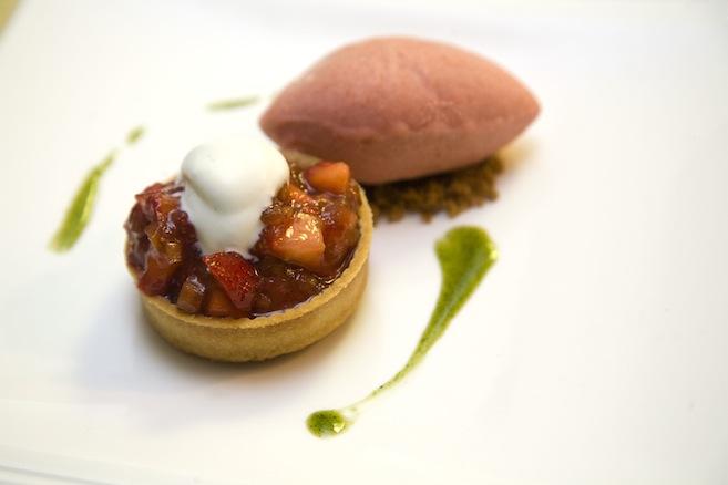 Ricotta Cheesecake with Rhubarb Jam