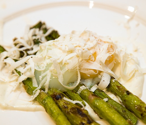Roasted Asparagus with Poached Egg, Yogurt, and Ricotta Salata
